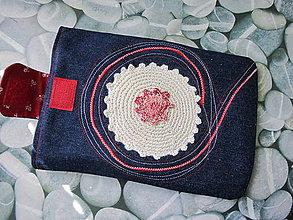 Úžitkový textil - Obal na tablet-háčkovaný kvet - 5416090_