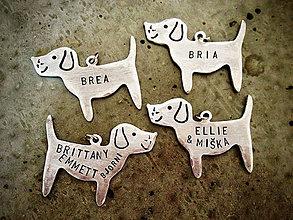 Kľúčenky - PUPPY s menami..alebo iným nápisom / 2mm hrúbka - 5417342_