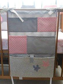 Textil - Vreckár na postieľku šedo-ružový - 5418561_