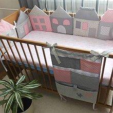 Textil - Súprava ,,Šedo-ružové domčeky,, - 5418606_