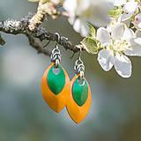 Náušnice - Náušnice Double - orange and green - 5418253_