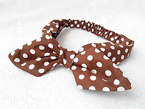 Ozdoby do vlasov - Pin Up headband on elastic (brown with white polka dots) - 5421167_