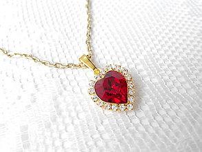 Náhrdelníky - Red heart (14k necklace / Swarovski heart) - 5422251_