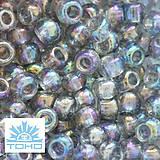 Korálky - TOHO rokajl (Round 3mm) Trans-rainbow black diamond - 5422012_
