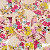 Galantéria - Drevený gombík vtáčik 3cm - 5424239_