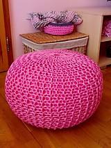 Úžitkový textil - Ružový puf - 5423888_