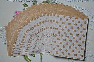 Obalový materiál - papierovy sacok natur biela bodka - 5428126_