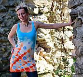 Šaty - Šaty tielkové batikované a maľované ORANŽOVÉ SLNKO A OBLOHA MODRÁ... - 5425084_