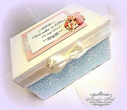 Krabičky - Krabica na svad. pohľadnice - Nebo s vôňou ruží - 5426763_