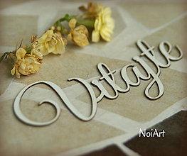 Materiál ručne robený - Papierový nápis Vitajte - 5428787_