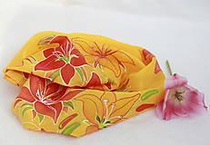Hodvábna šatka s kvetmi- Ľaliový úlet