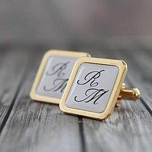 Šperky - Manžetky zlaté s monogramom - 5428789_
