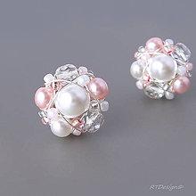 Náušnice - Náušničky WHITE & PINK... - 5428961_
