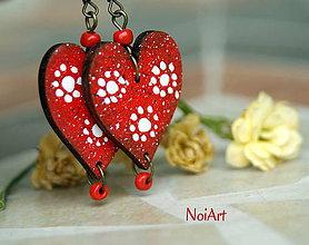 Náušnice - red Hearts - 5434874_