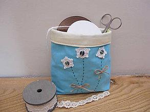 Dekorácie - Textilný košík na drobnosti- tyrkys - 5434826_