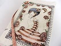 Mirabelle III. - romantický obal na knihu vyšívaný