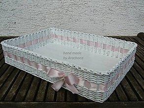 Dekorácie - Svadobný košík - 45x30x10cm (ružová saténová stuha) - 5437248_