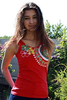 Tielka - Tričko červené maľované - Rouge - 5437232_