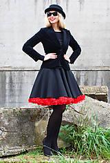 Sukne - FuFu sukně černá s červenou spodničkou - 5435717_