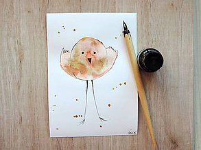 Kresby - orandžový metaličký vtáčik II. - 5437703_