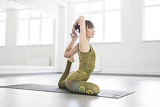 Nohavice - Charkas Yoga set kaki zelený - 5438553_