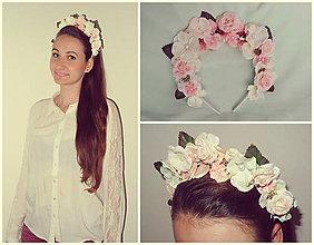 Ozdoby do vlasov - Romantická čelenka v jemných ružových odtieňoch - 5442322_