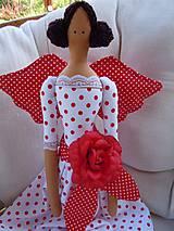 Bábiky - Červená s veľkou ružou - 5439402_