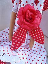 Bábiky - Červená s veľkou ružou - 5439410_