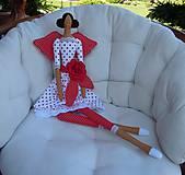 Bábiky - Červená s veľkou ružou - 5439411_
