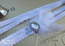 Bielizeň/Plavky - svadobný podväzok so štrasom - 5441652_