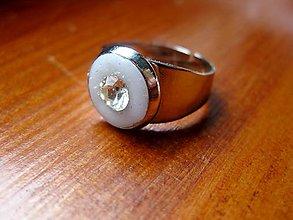 Prstene - Biely prsteň  - akcia č.67 - 5441776_