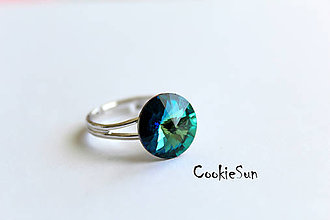 Prstene - Prsteň Swarovski Rivoli Bermuda Blue Rh - 5443509_