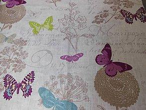 Textil - 100%-ný ľan - motýle a kvety - 5445085_