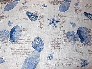 Textil - 100%-ný ľan - morské motívy - 5445106_