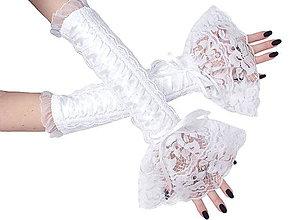 Rukavice - Biele svadobné čipkové  rukavice  0410 - 5449631_