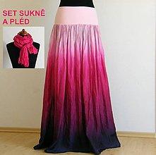 Sukne - Variace na maliny - hedvábná sukně a pléd - 5447293_