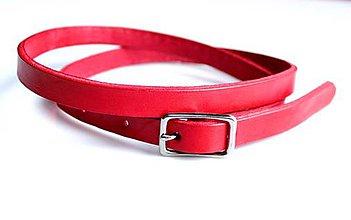 Opasky - Úzký kožený opasek 1,5 cm-červená - 5447556_
