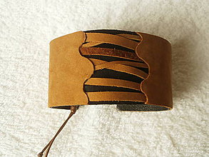 Náramky - Náramok kožený, prekrížené - 5453460_