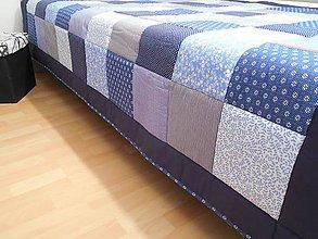 Úžitkový textil - patchwork deka 140x200cm modrá - 5457682_