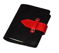 Papiernictvo - PRAKTIK A6 kožený karisblok čierny s červenými doplnkami - s týždenným kalendárom na rok 2017 - 5458874_