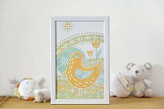 Grafika - Vtáčik - ilustrácia v drevenom ráme - 5458507_