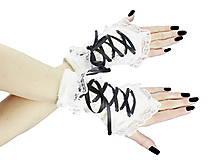 Dámské biele rukavičky s korzetovým šnurovaním 1320B