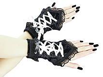 Dámské čierno biele rukavičky s korzetovým šnurovaním 1320B