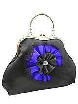 Spoločenská dámská kabelka čierno modrá 1110