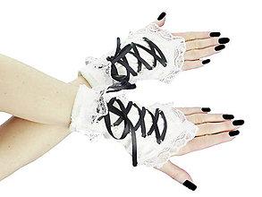 Rukavice - Dámské biele rukavičky s korzetovým šnurovaním 1320B - 5461107_