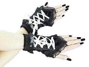 Rukavice - Dámské čierno biele rukavičky s korzetovým šnurovaním 1320B - 5462287_