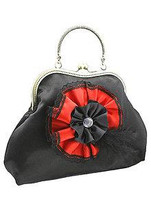 Kabelky - Spoločenská dámská kabelka čierno červená 1110 - 5462298_