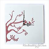 Hodiny - Drevené hodiny - Pink tree - 5461174_