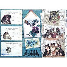 Papier - ryžový papier Vintage karty - 5461810_