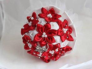 Kytice pre nevestu - Svadobná kytica bielo-červená - 5461540_